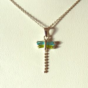 Jewelry - Sterling silver blue green crystal dragonfly